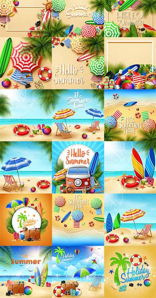 Здравствуй лето - Векторный клипарт / Hello summer - Vector Graphics