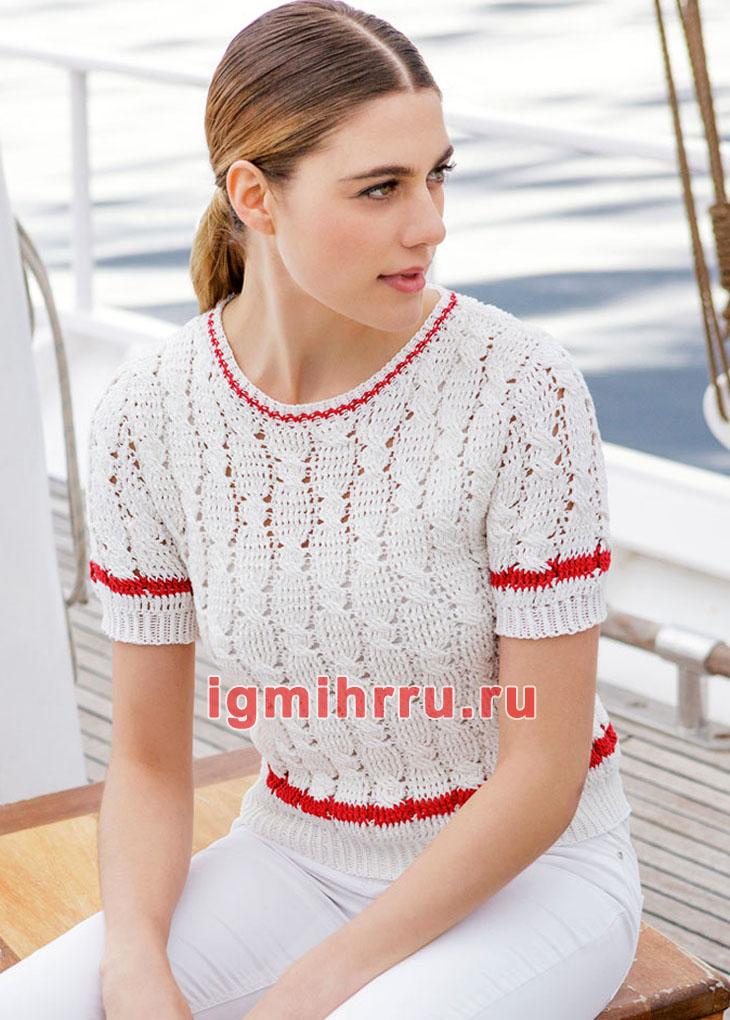 Ажурный белый пуловер с короткими рукавами. Вязание крючком
