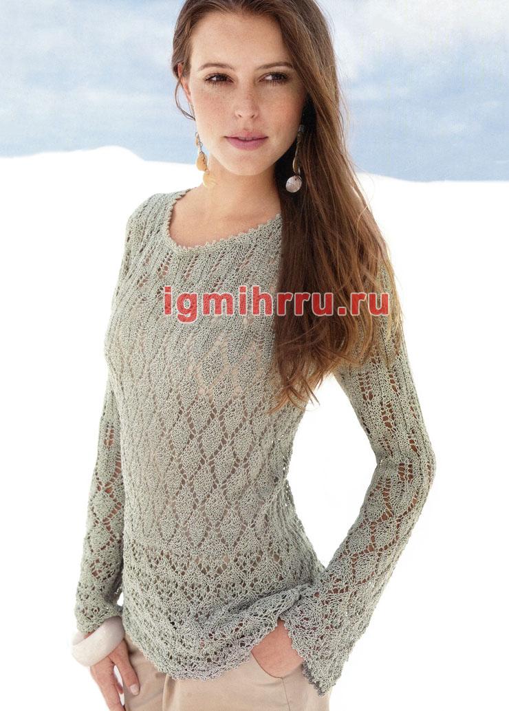 Романтичный светло-серый пуловер из ажурных узоров. Вязание спицами