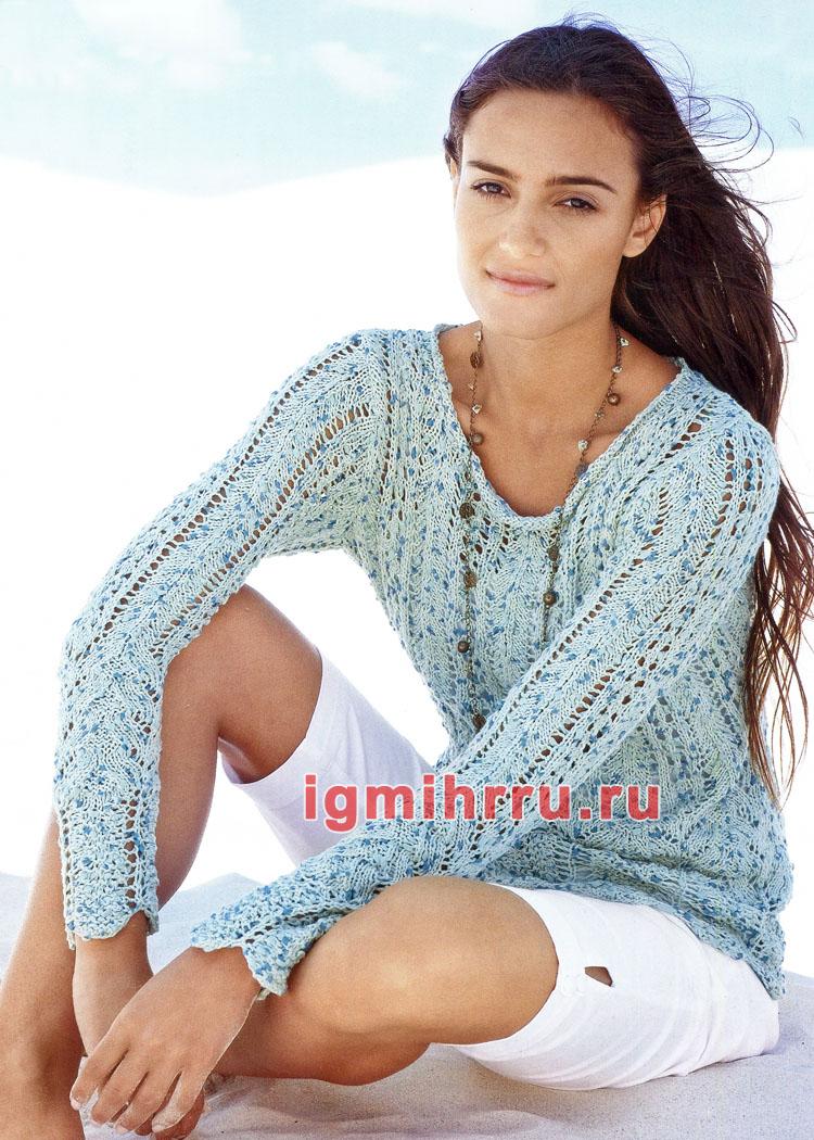 Летний меланжевый пуловер с ажурными узорами. Вязание спицами