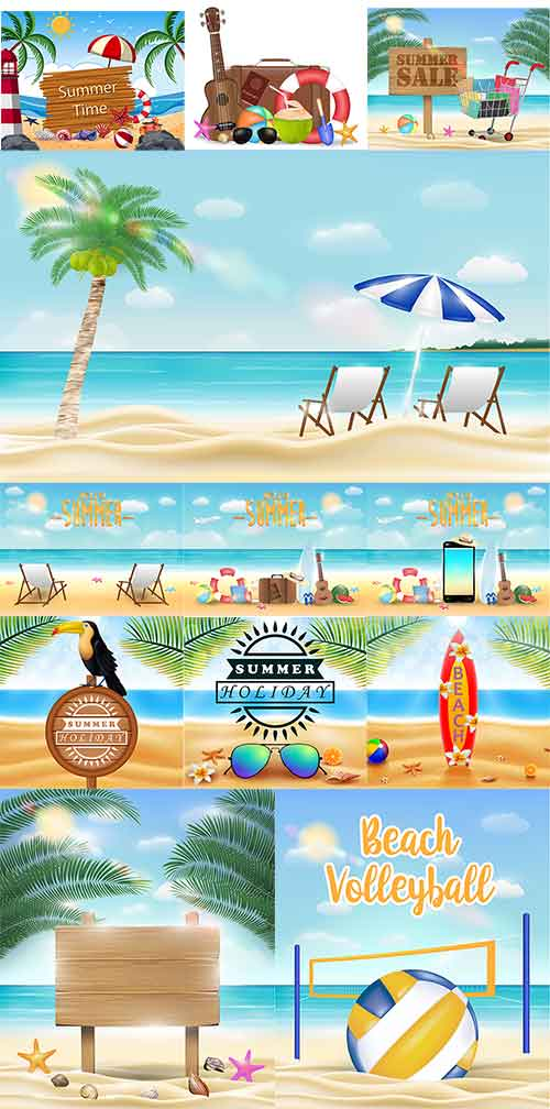 Лето, море, пляж - Векторный клипарт / Summer, sea, beach - Vector Graphics