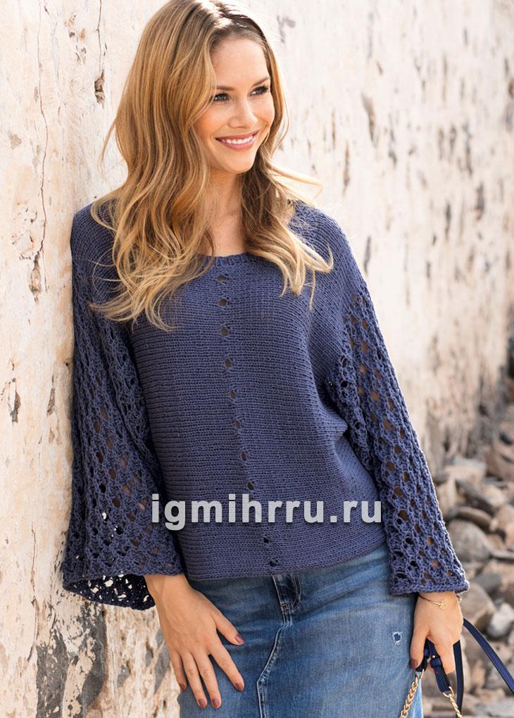 Синий хлопковый пуловер, связанный поперек. Вязание спицами