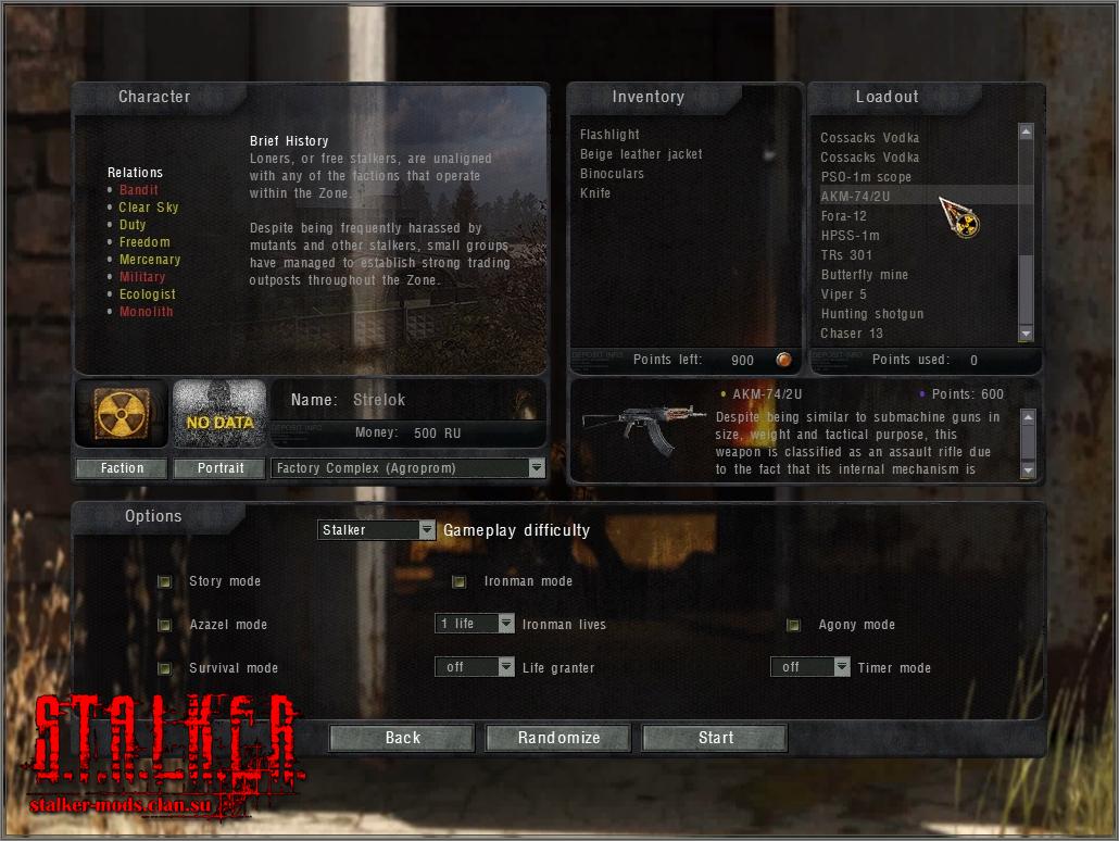 TRX Fresh Start - weapon choice