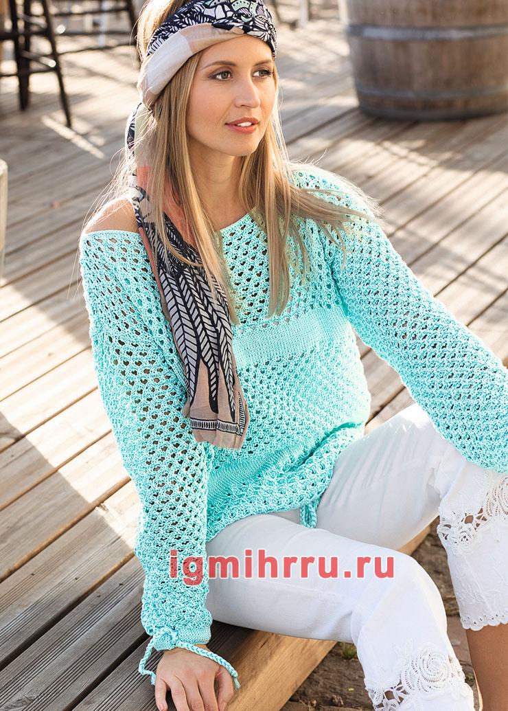 Летний пуловер с сочетанием ажурных узоров. Вязание спицами