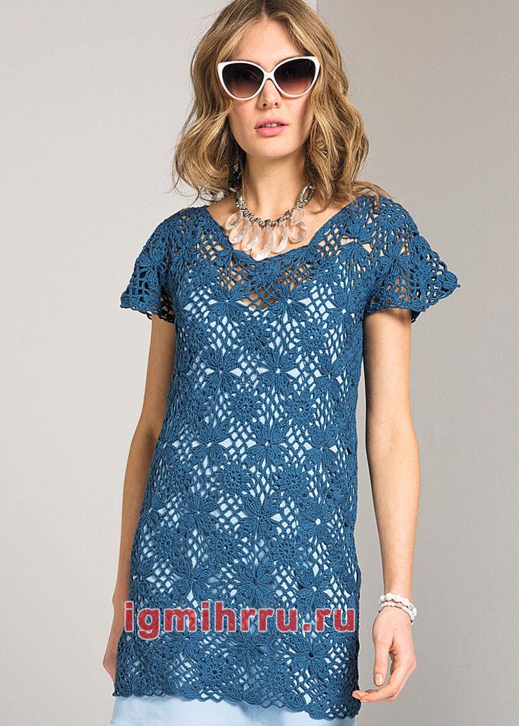 Синее хлопковое мини-платье из цветочных квадратов. Вязание крючком