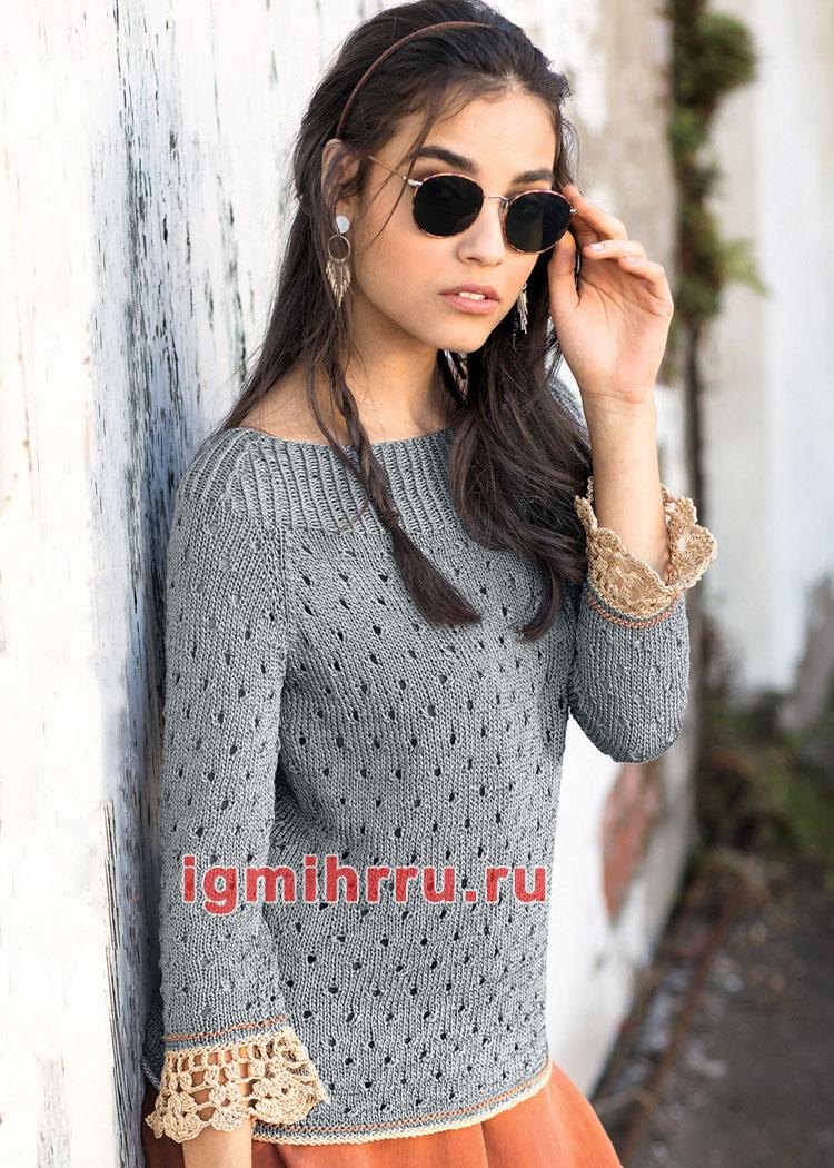 Ажурный пуловер со связанными крючком бордюрами рукавов. Вязание спицами