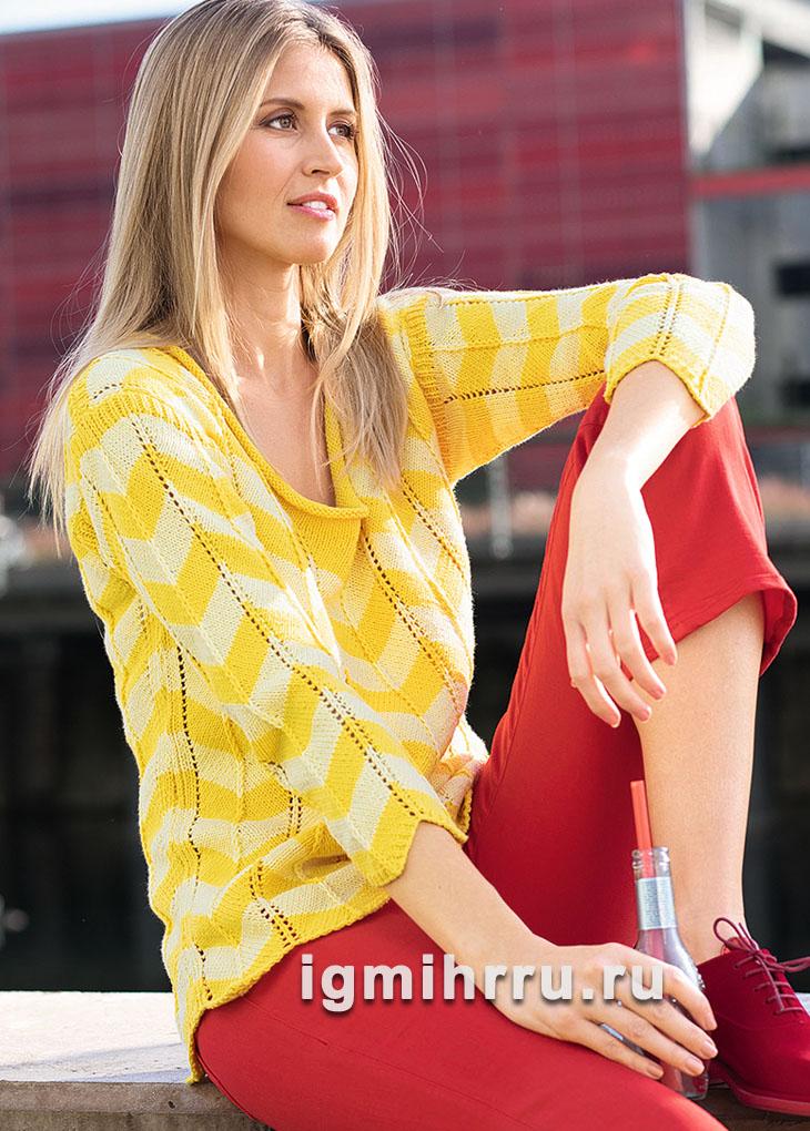 Яркий летний пуловер с зубчатым узором. Вязание спицами