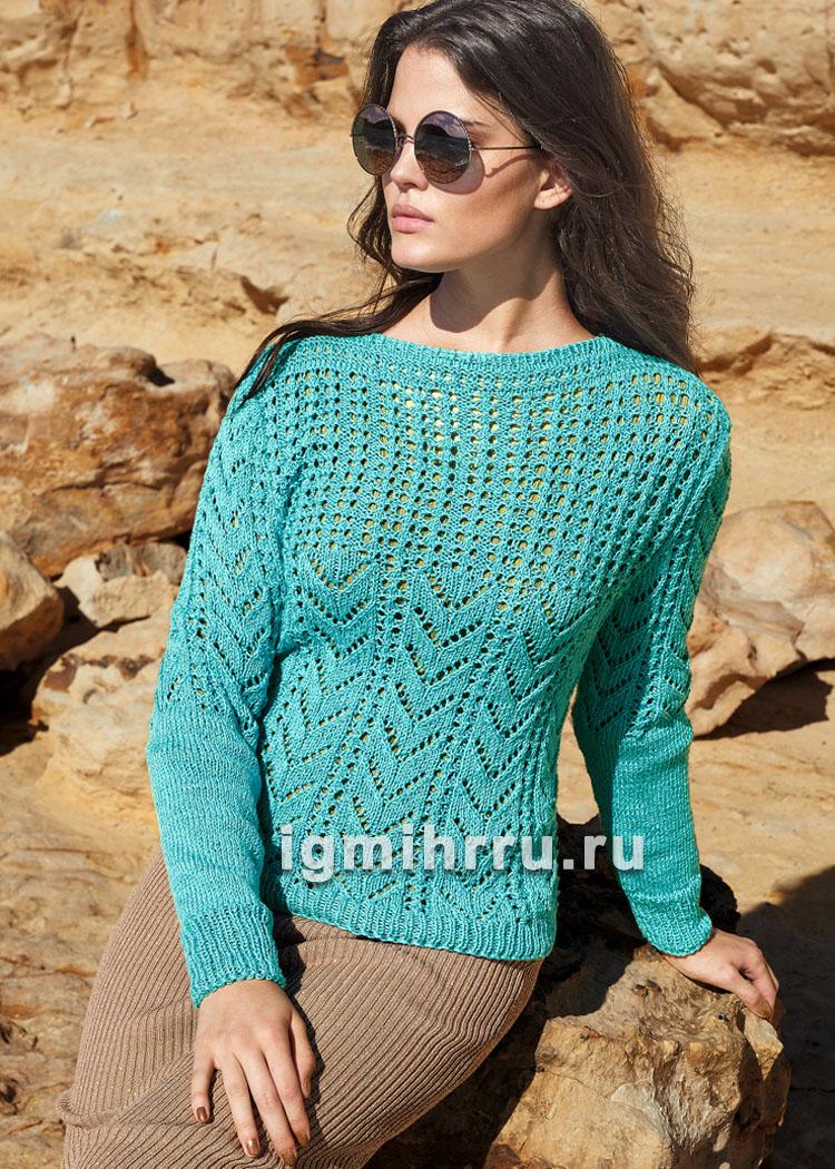 Женственный бирюзовый пуловер с ажурным узором. Вязание спицами