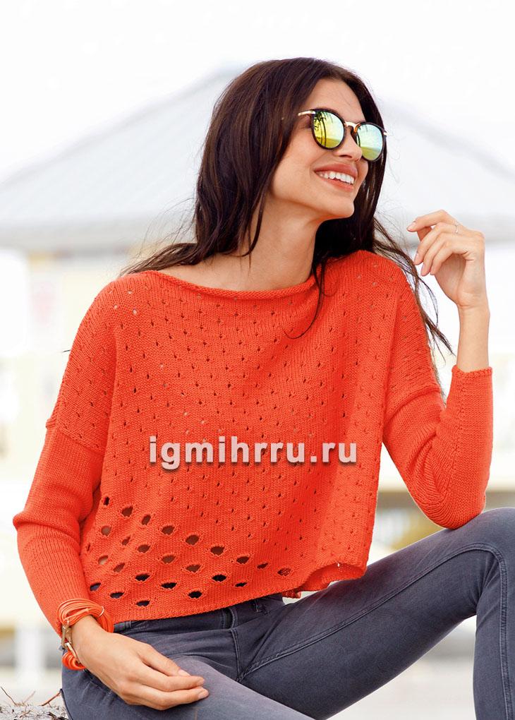 Коралловый пуловер с дырчатыми узорами. Вязание спицами