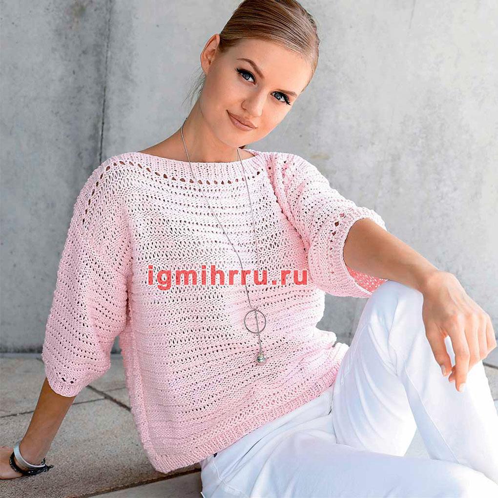 Розовый пуловер с узором из спущенных петель. Вязание спицами