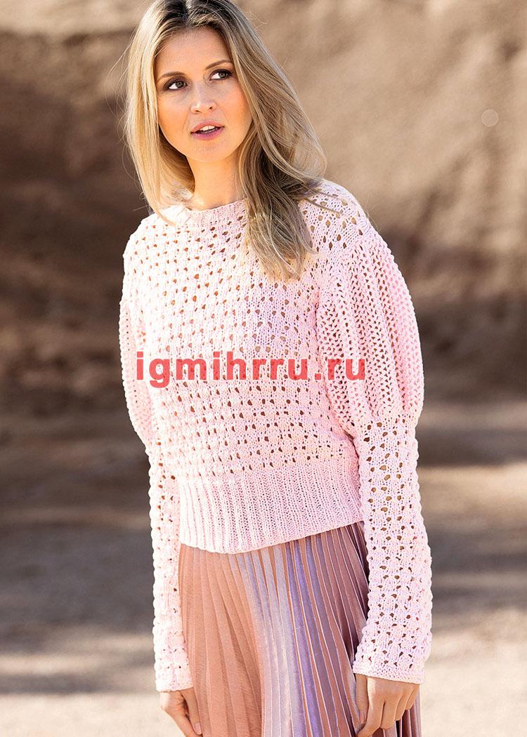 Розовый ажурный пуловер с рукавами буф. Вязание спицами