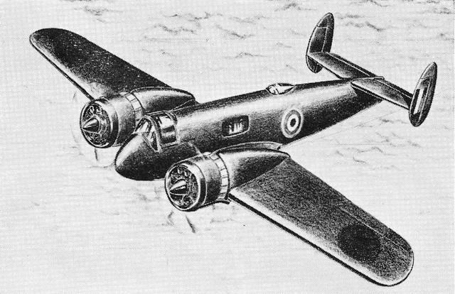 рисунок проекта самолёта для подготовки лётных экипажей и буксировщика целей Miles M.36 Montrose