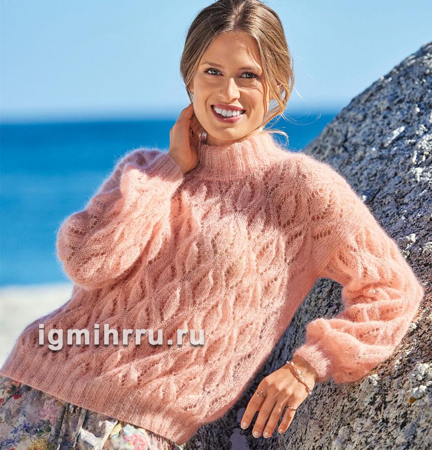 Мохеровый свитер с ажурными ромбами. Вязание спицами