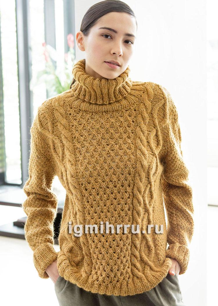 Желто-коричневый свитер с косами. Вязание спицами
