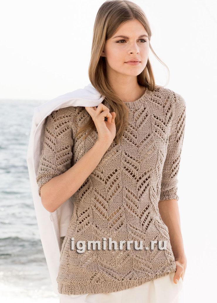 Легкий бежевый пуловер с узором елочка. Вязание спицами