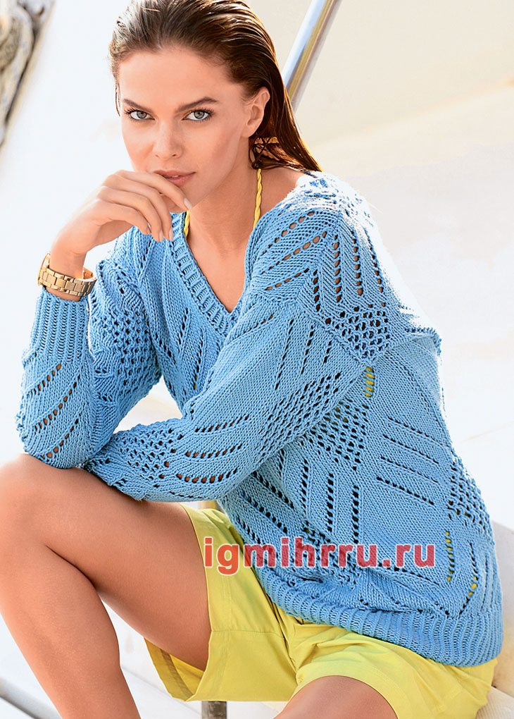 Голубой хлопковый пуловер с ажурными ромбами. Вязание спицами
