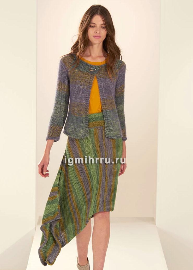 Асимметричная юбка в стиле бохо. Вязание спицами