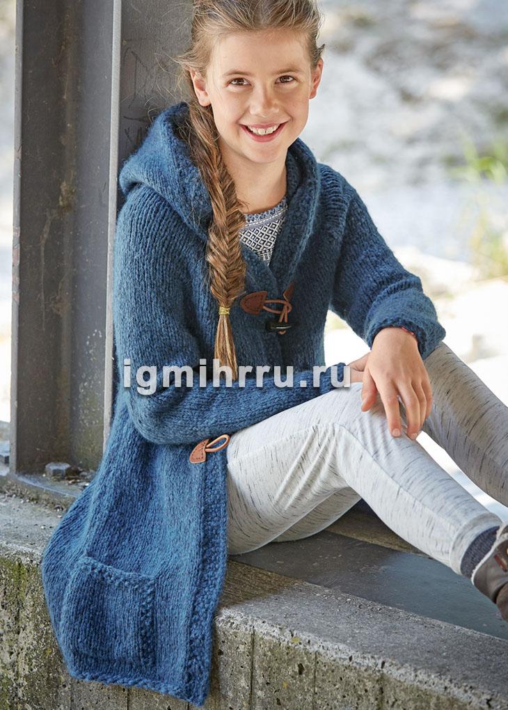 Для девочки 9-12 лет. Теплый кардиган с капюшоном, карманами и навесными застежками. Вязание спицами