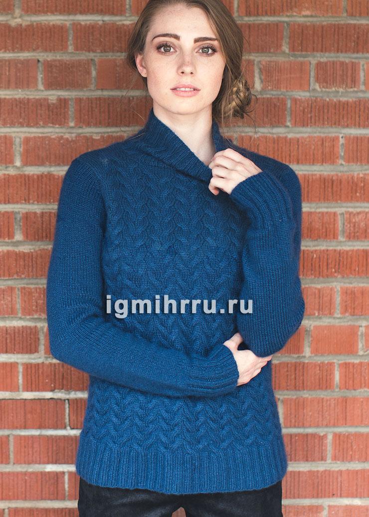 Чистошерстяной синий свитер с косами. Вязание спицами