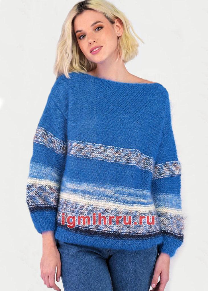 Простой пуловер в синих тонах с полосками. Вязание спицами