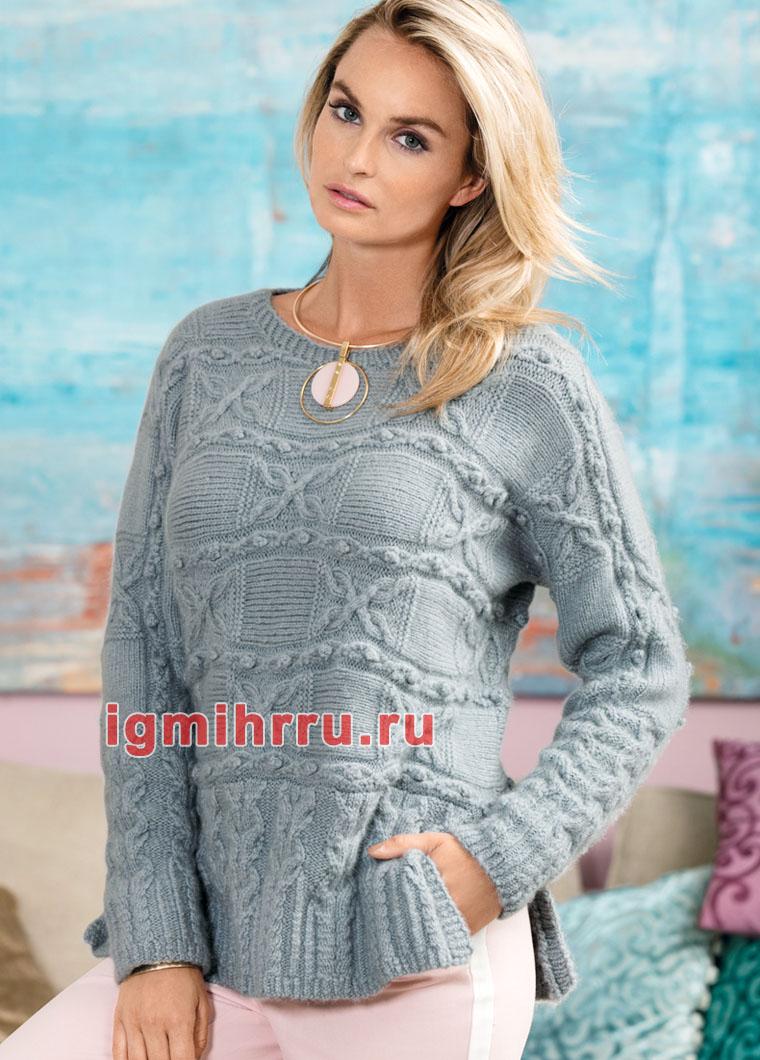 Кашемировый пуловер с миксом узоров. Вязание спицами