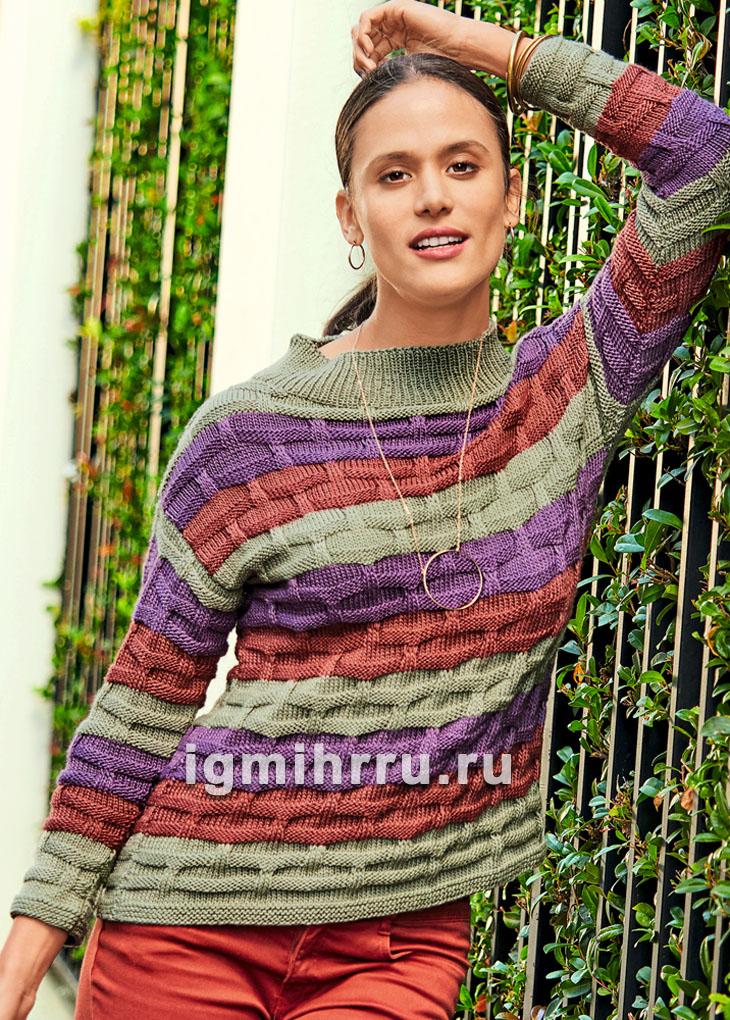 Пуловер в полоску с рельефным узором. Вязание спицами