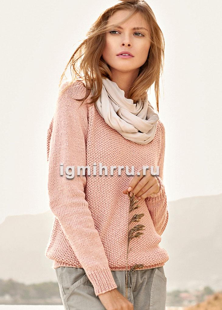 Пуловер-реглан, выполненный жемчужным узором. Вязание спицами