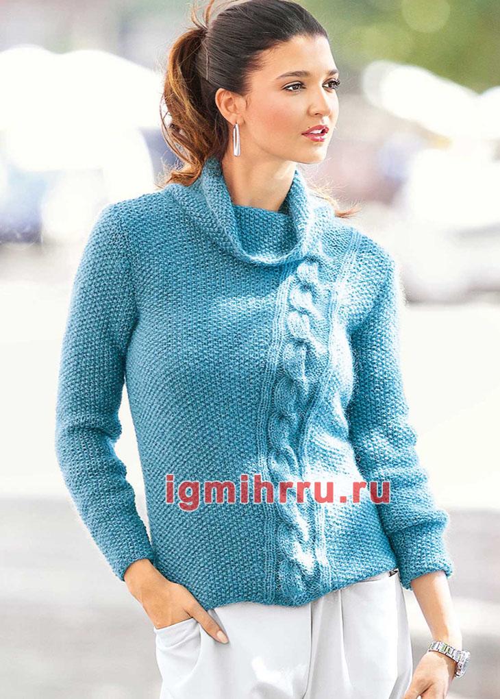 Бирюзовый пуловер с жемчужным узором и косой. Вязание спицами