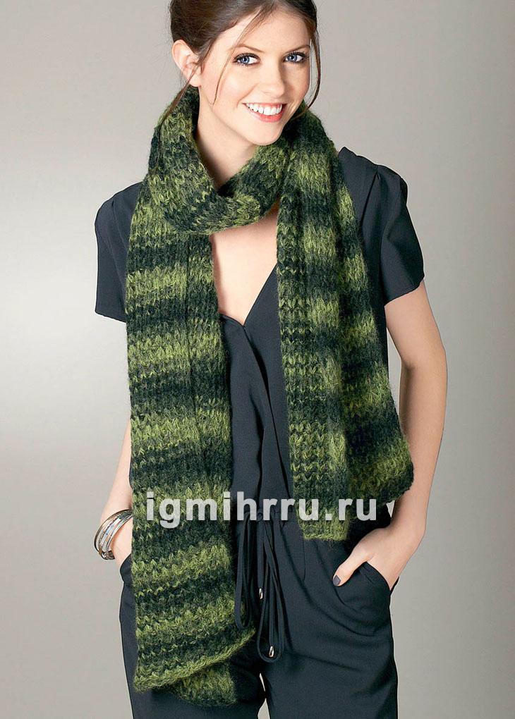 Длинный полосатый шарф в зеленых тонах. Вязание спицами