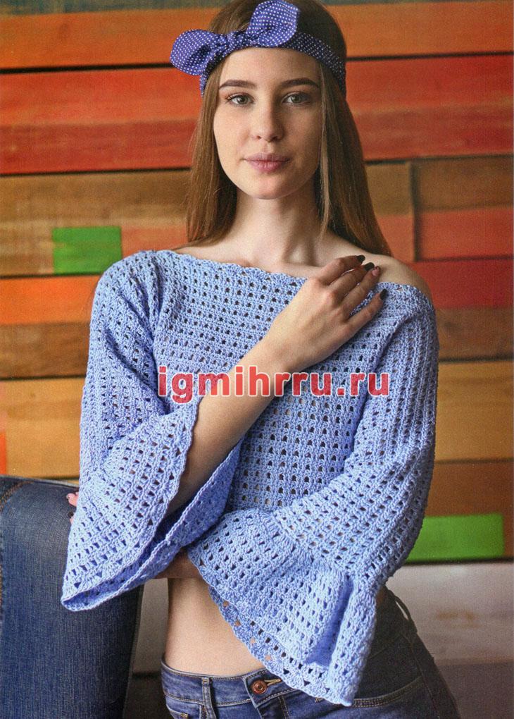 Короткий молодежный пуловер с оборками. Вязание крючком