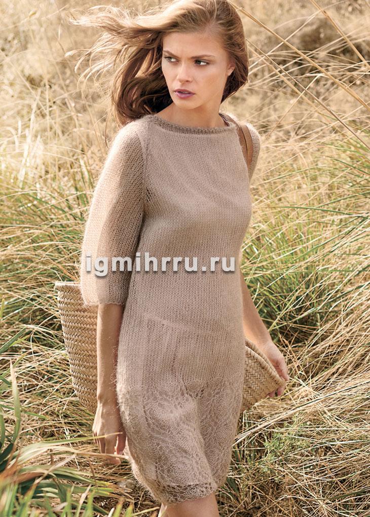 Нежное мохеровое платье с ажурной каймой. Вязание спицами