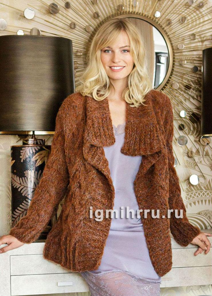 Свободный теплый жакет с плетеным узором. Вязание спицами