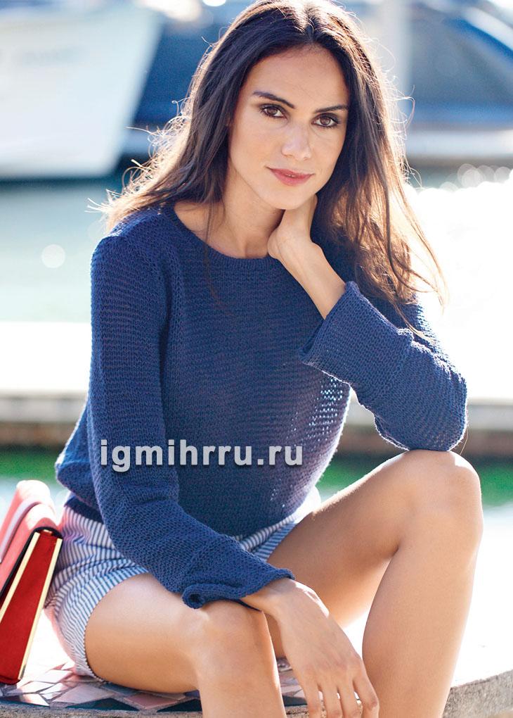 Темно-синий минималистичный пуловер. Вязание спицами
