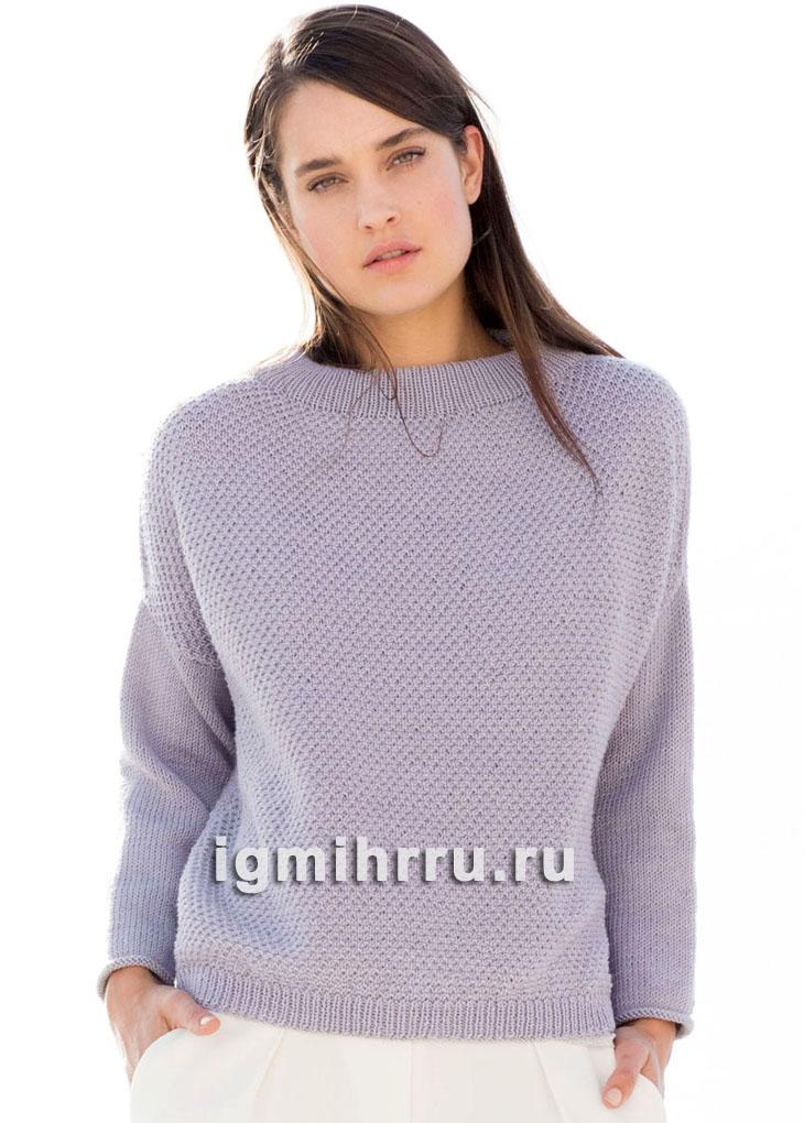 Свободный шерстяной пуловер с кокеткой. Вязание спицами