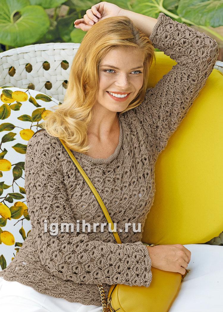 Песочный пуловер с эффектным сквозным узором. Вязание спицами