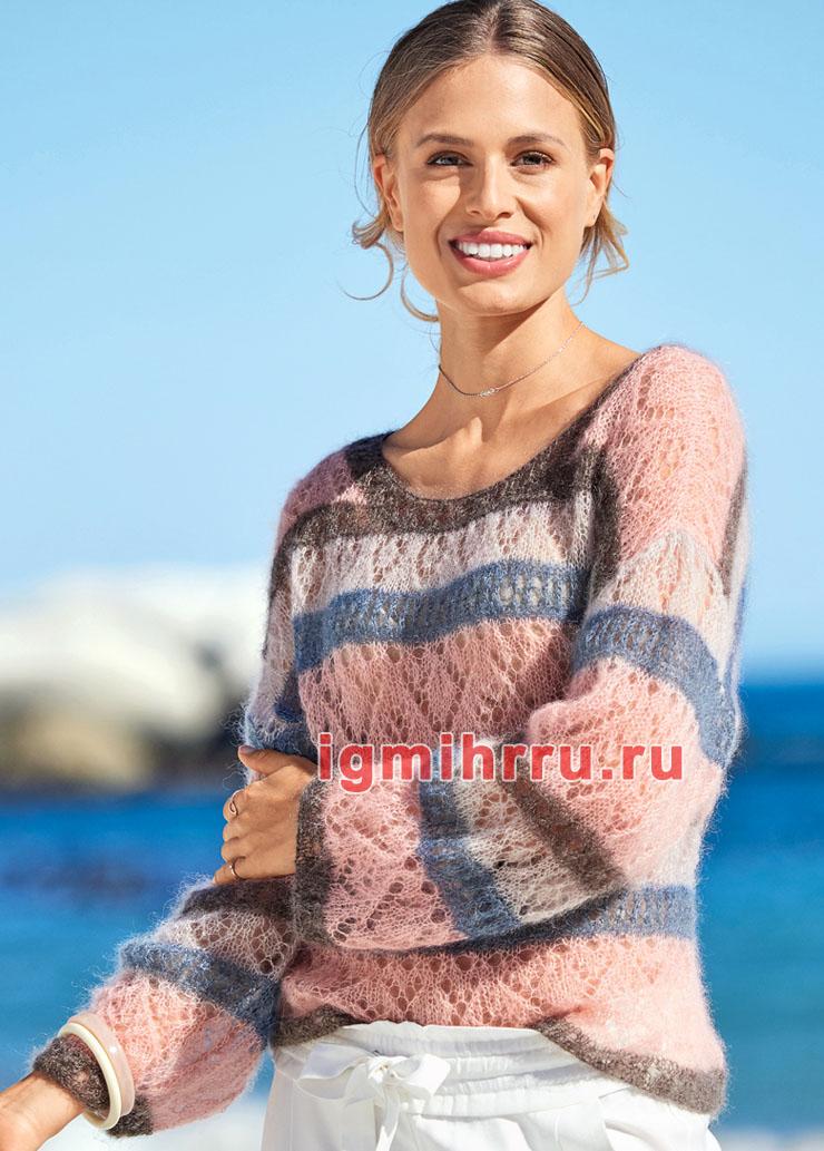 Мохеровый ажурный пуловер в полоску. Вязание спицами