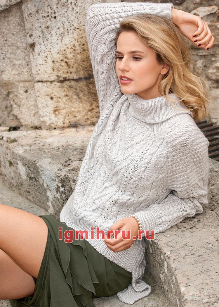 Серый теплый свитер с рельефными узорами. Вязание спицами