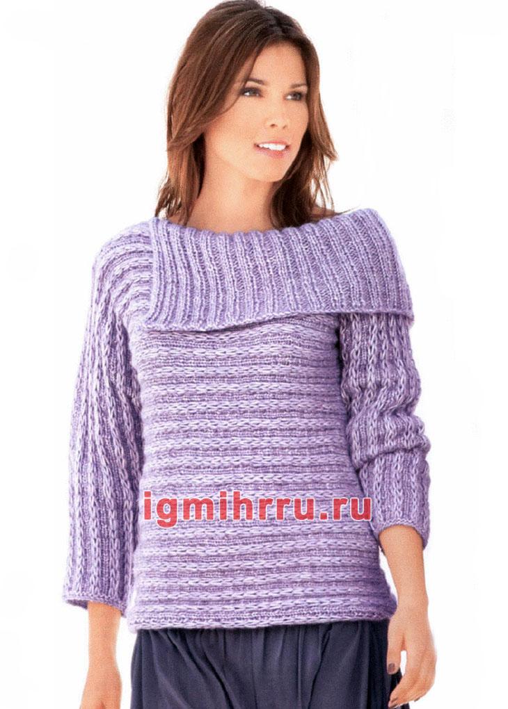 Связанный поперек пуловер из снятых петель. Вязание спицами