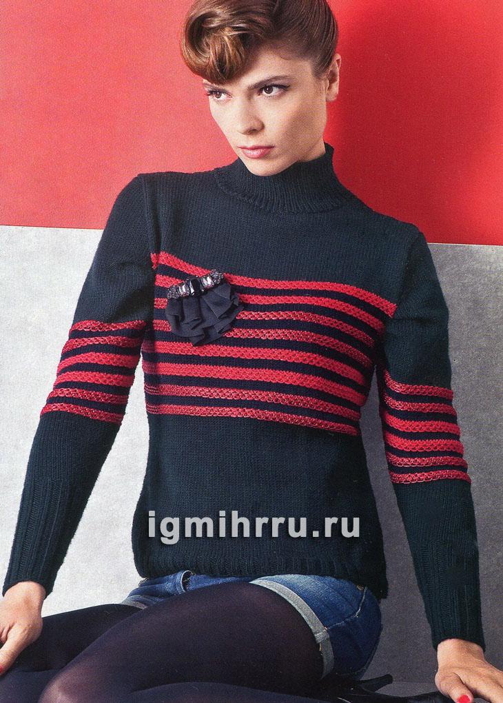 Черный пуловер с красными полосами. Вязание спицами