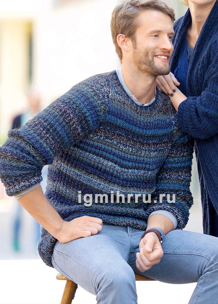 Мужской пуловер с рельефным узором. Вязание спицами
