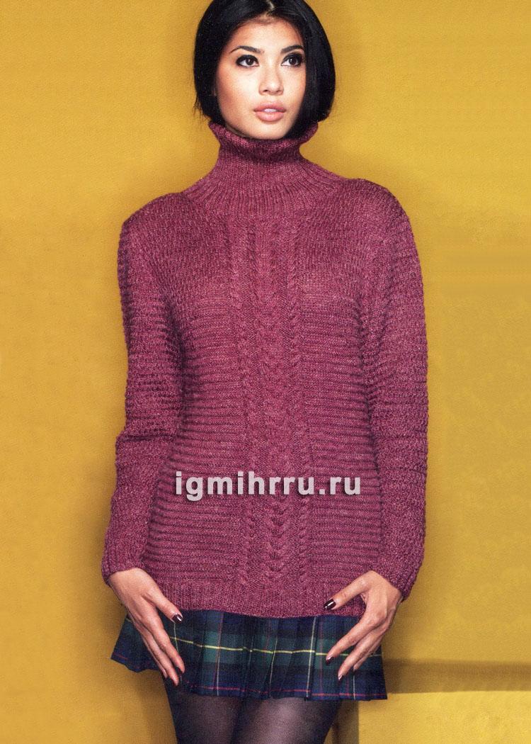 Бордовый свитер с центральной вставкой из кос. Вязание спицами