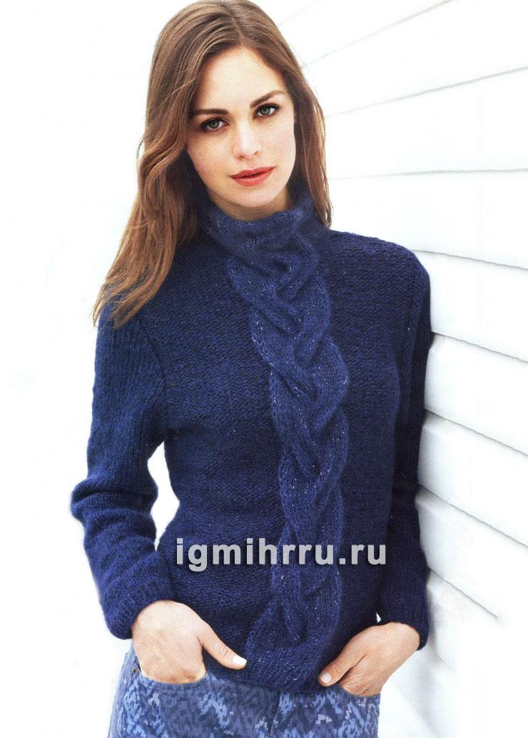 Теплый свитер с широкой центральной косой. Вязание спицами