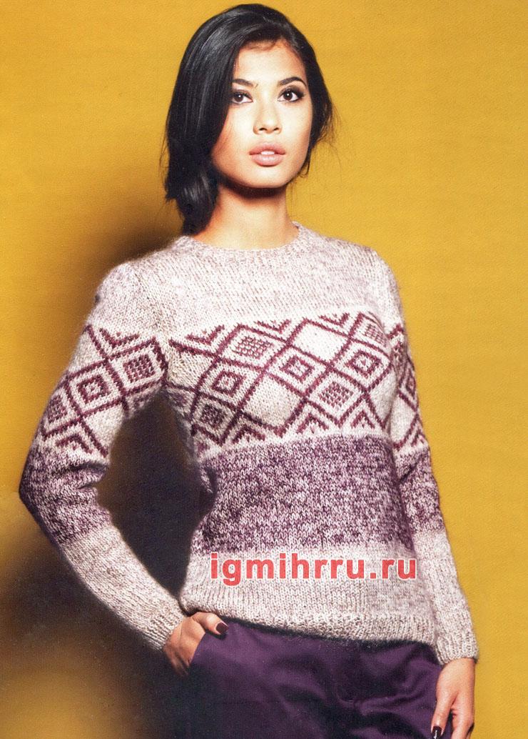 Теплый пуловер с жаккардовым узором. Вязание спицами