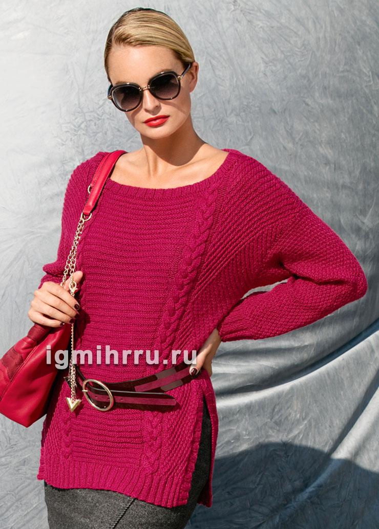 Малиновый пуловер с миксом узоров. Вязание спицами