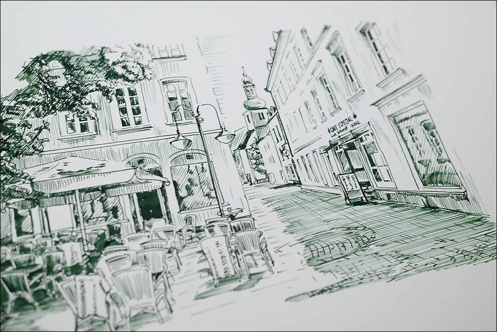 Street cafe on St. Johanner Markt Square in the Old Town, Saarbrucken, Saarland, Germany