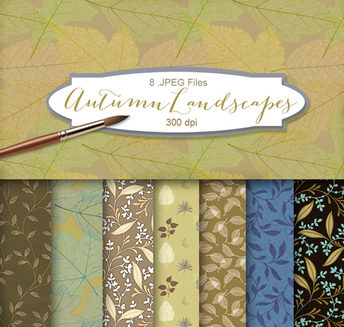Background Textures with Floral Ornament - Autumn Landscapes