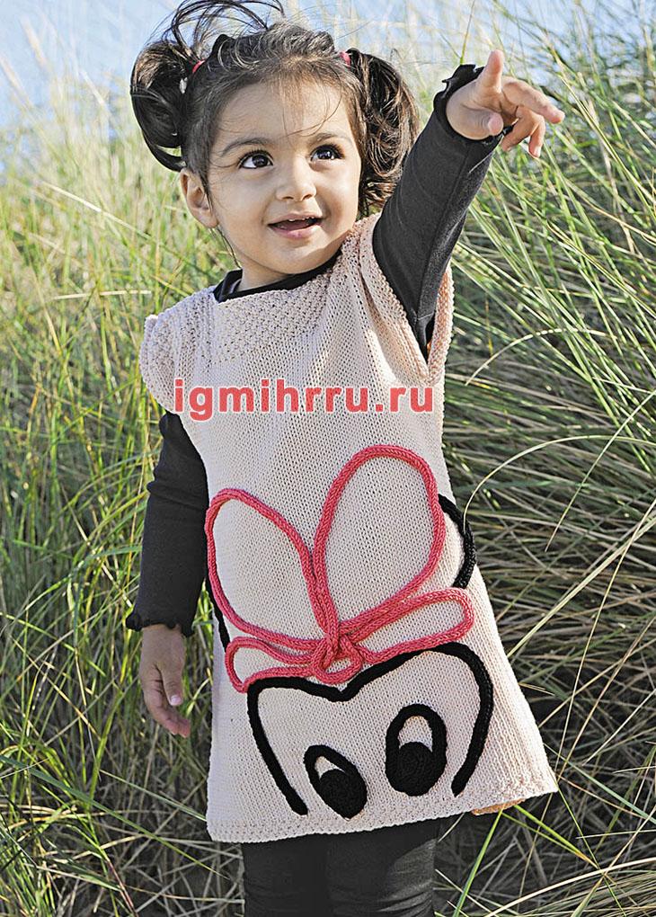 Для девочки 1,5-7 лет. Платье с мотивом Мышка. Вязание спицами