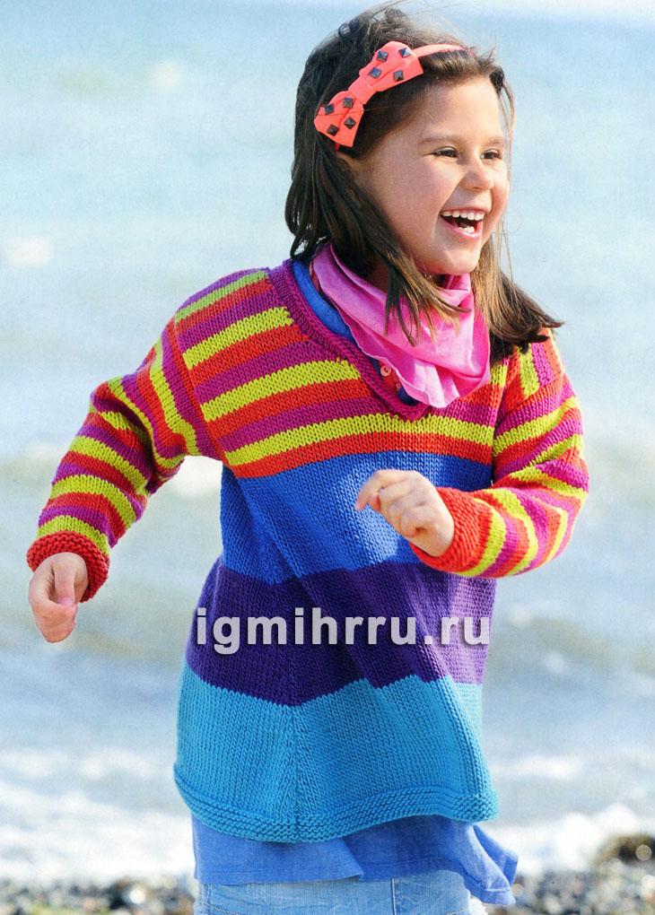 Для девочки 1,5-7 лет. Шерстяная туника с разноцветными полосками. Вязание спицами