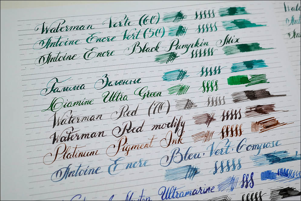 Fountain pen Inks. Light Resistance test. Lenskiy.org