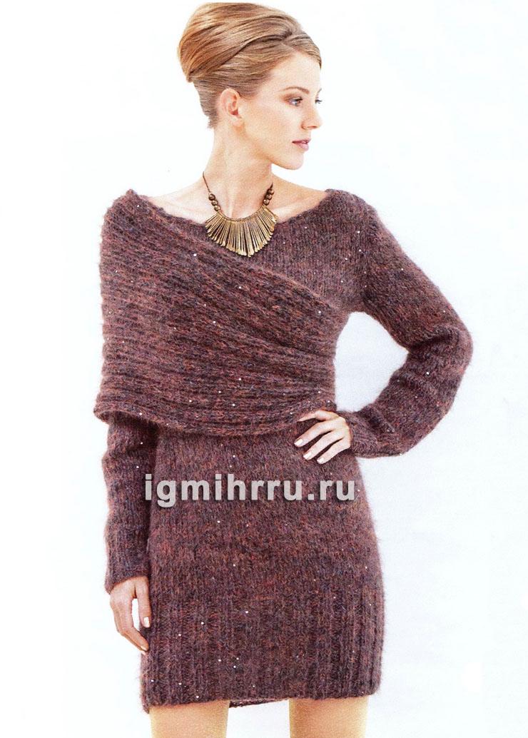 Мини-платье с элегантной драпировкой шарфом-петлей. Вязание спицами